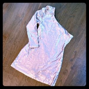 Matte Silver Sequins Asymmetrical Mini Dress